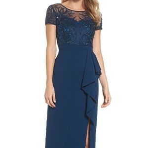 Papell Beaded Ruffle Gown NAVY Size 6P #661